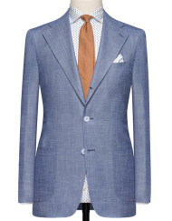 Slate Blue Sharkskin Composed of Wool, Silk And Linen. Code 4717