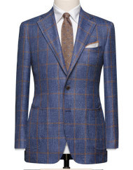 Dark Blue With A Medium Brown Windowpane. Code 8241